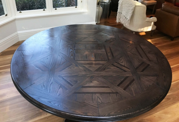 French style Bespoke Circular Dining Parquetry Table