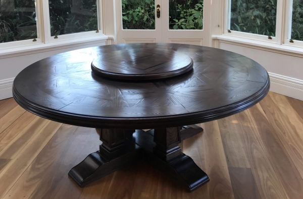 French Style Bespoke Circular Parquetry Dining Table and Lazy Susan