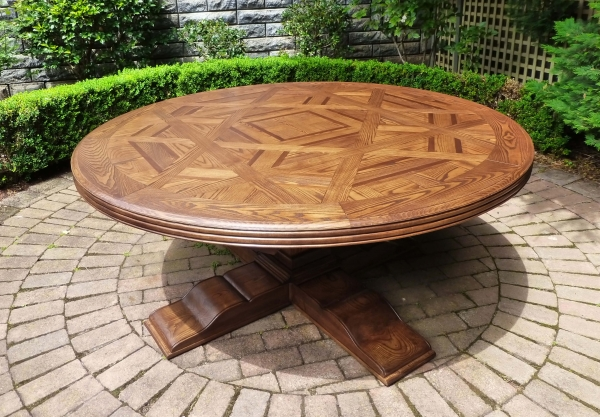 French Style Bespoke Round Parquetry Dining Table