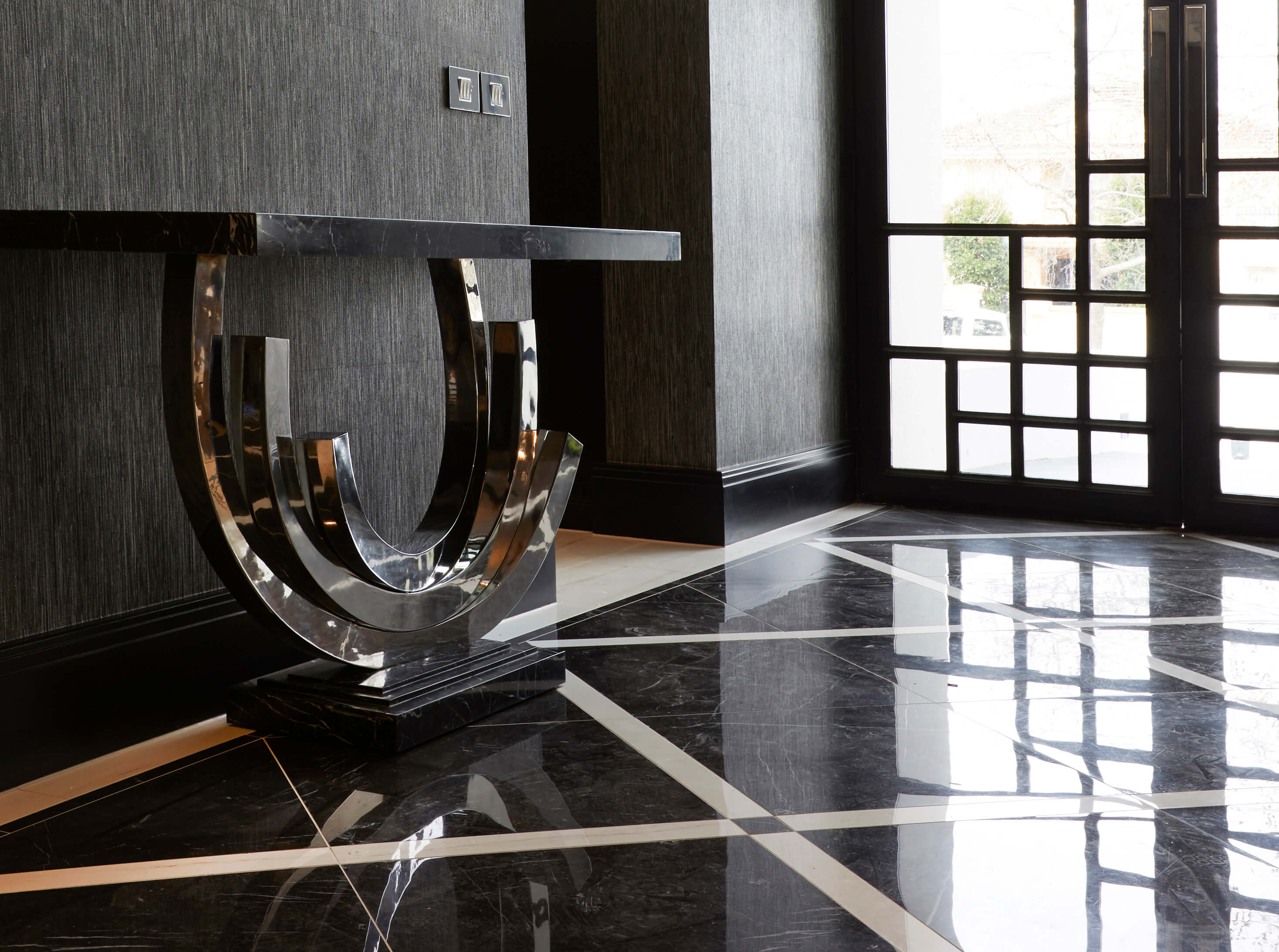 French style contemporary marble entrance table