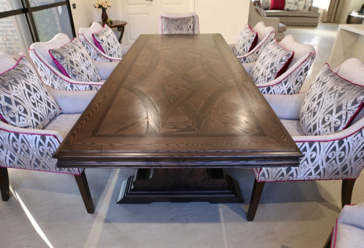 French style contemporary french oak parquetry table