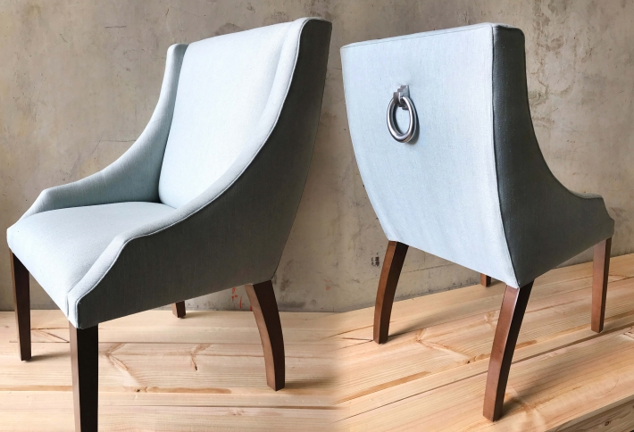 French style curved arm dining chair with optional ring detail