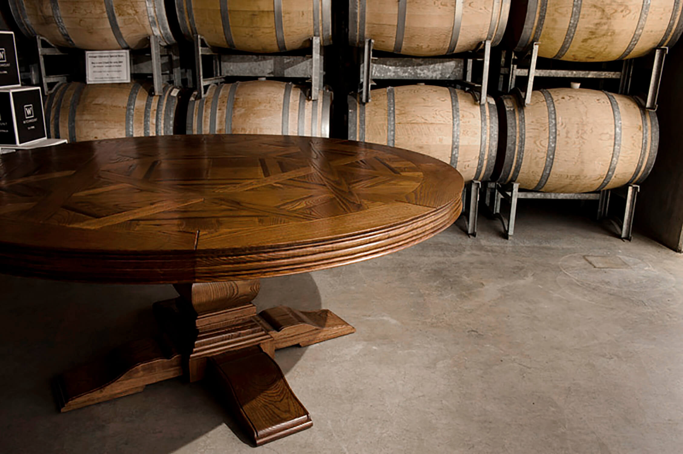 French style Custom Designed Parquetry Circular Dining Table