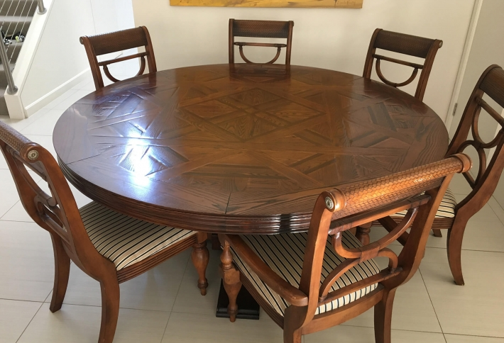 French style large Round Parquetry Table