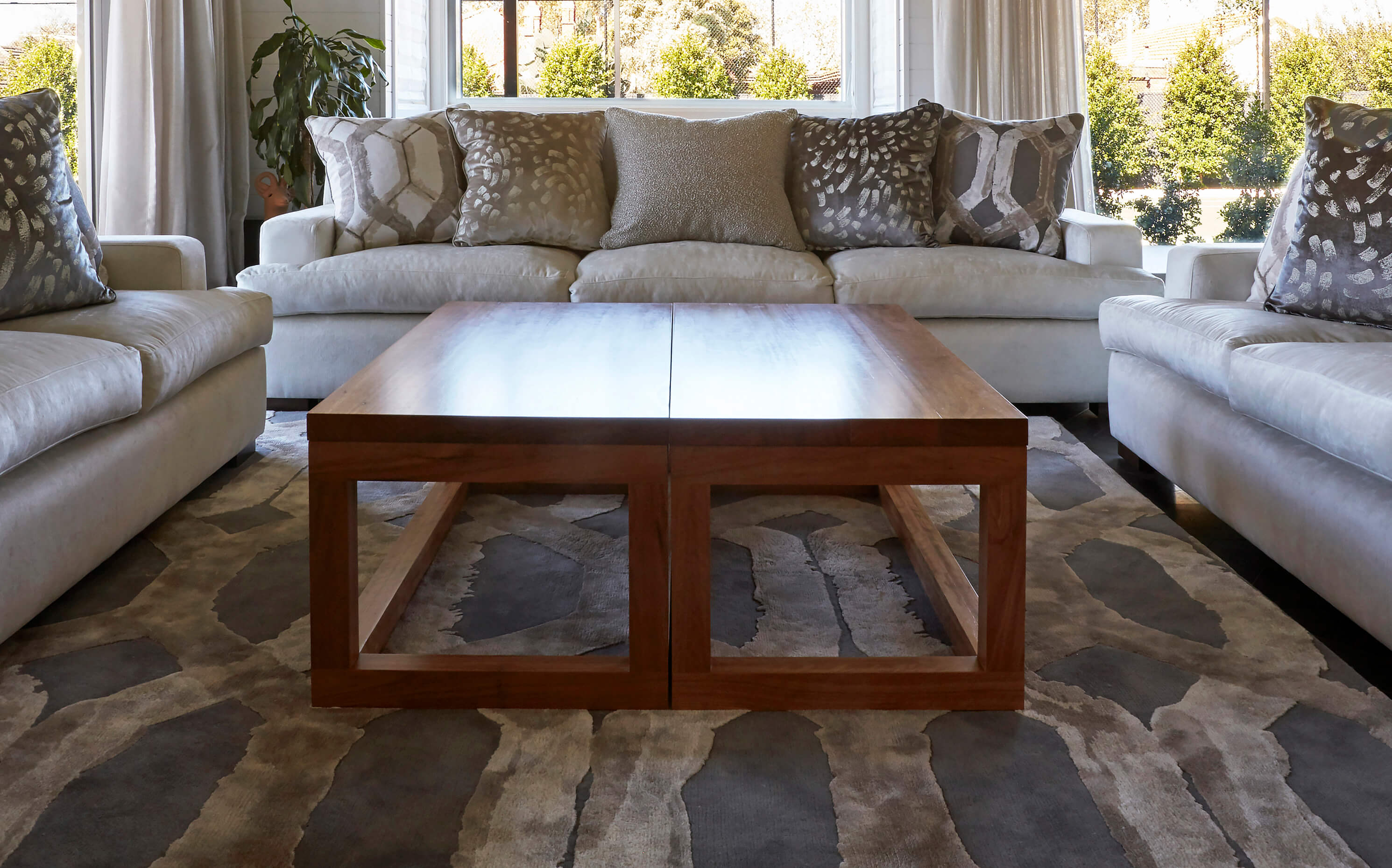 French-style Modern Coffee Table In Solid Blackbutt