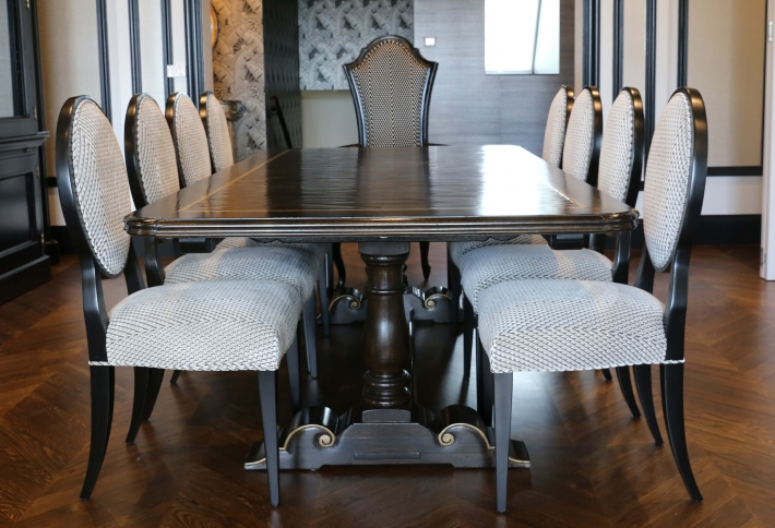 French style oval back dining chairs with feature carvers