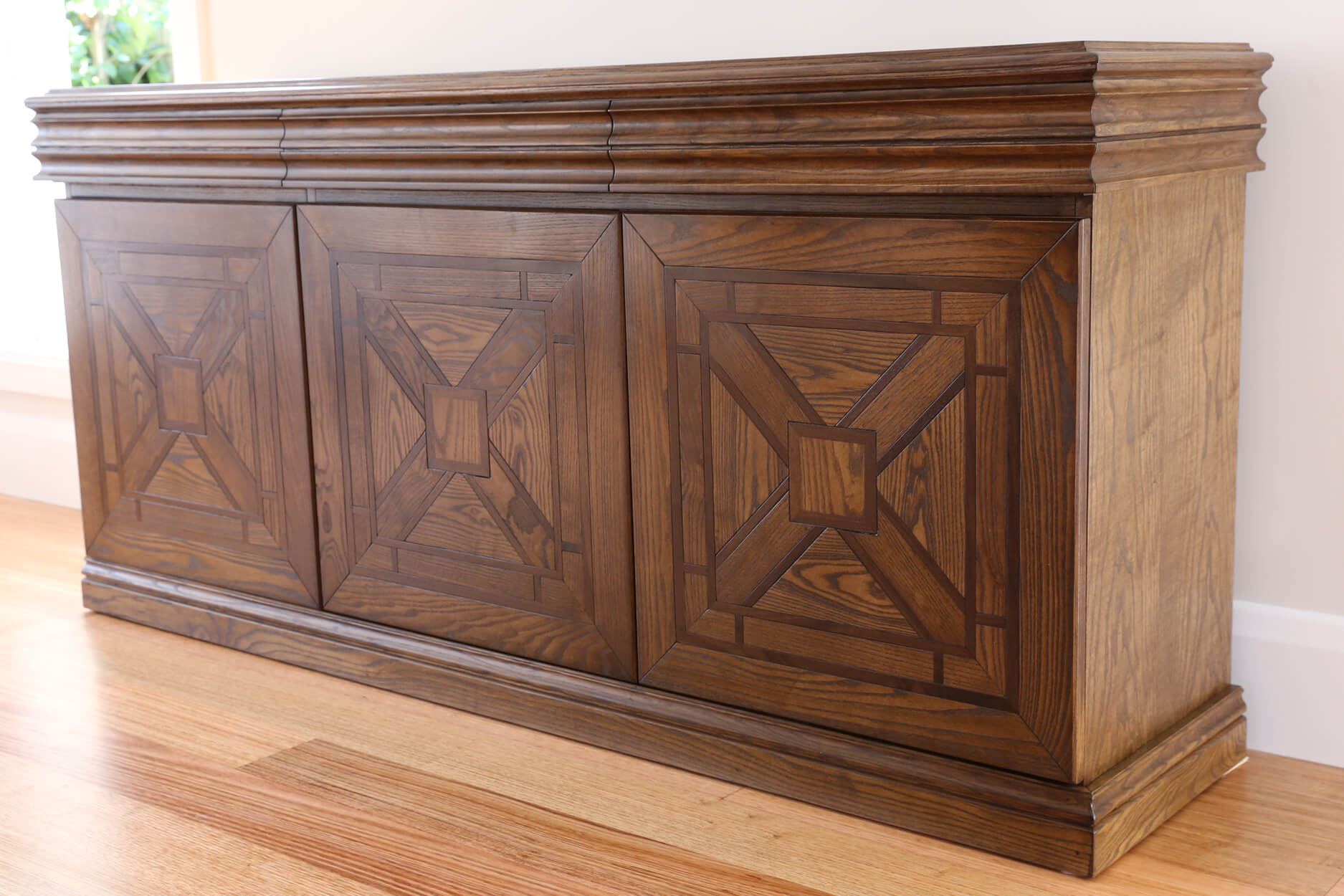 French style Parquetry 3 Door Cabinet Sideboard