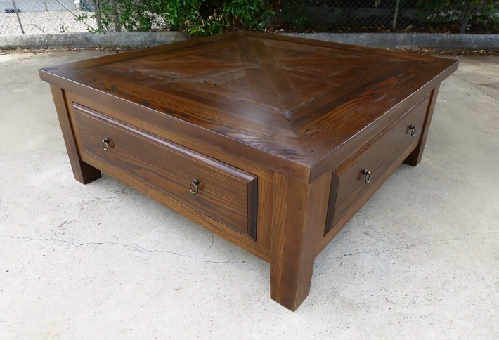 French style Parquetry Coffee Table – with Drawers