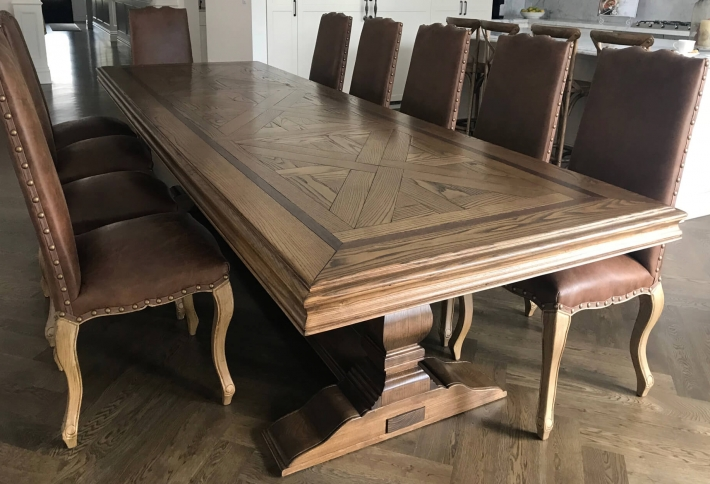 French style Parquetry Dining Table Classic Oak