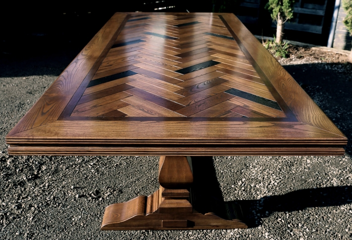 Parquetry Dining Table – Herringbone Pattern