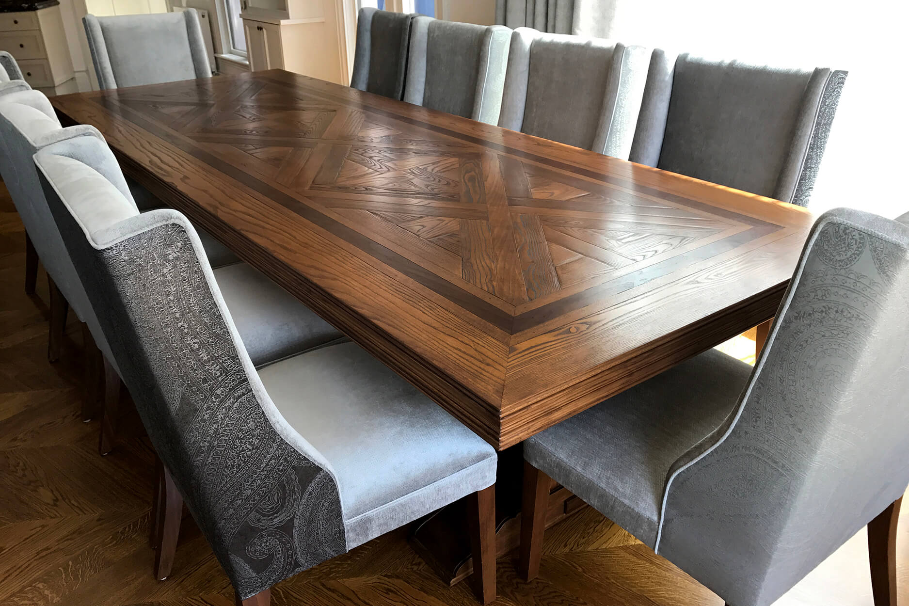 French style Parquetry Oak Dining Table