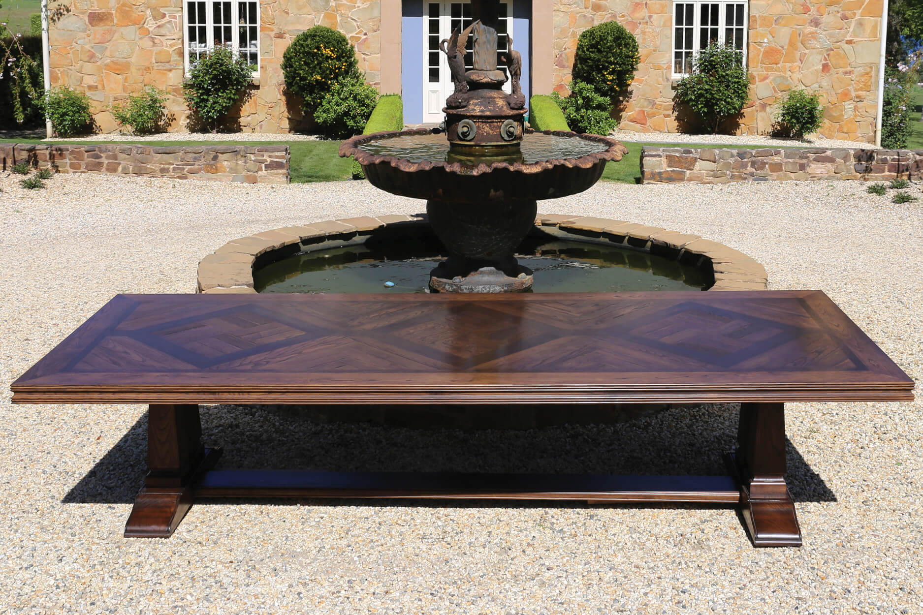 French style Parquetry Table Walnut Inlay Diamond Design