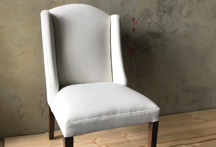 French style wingback dining chair with arch top