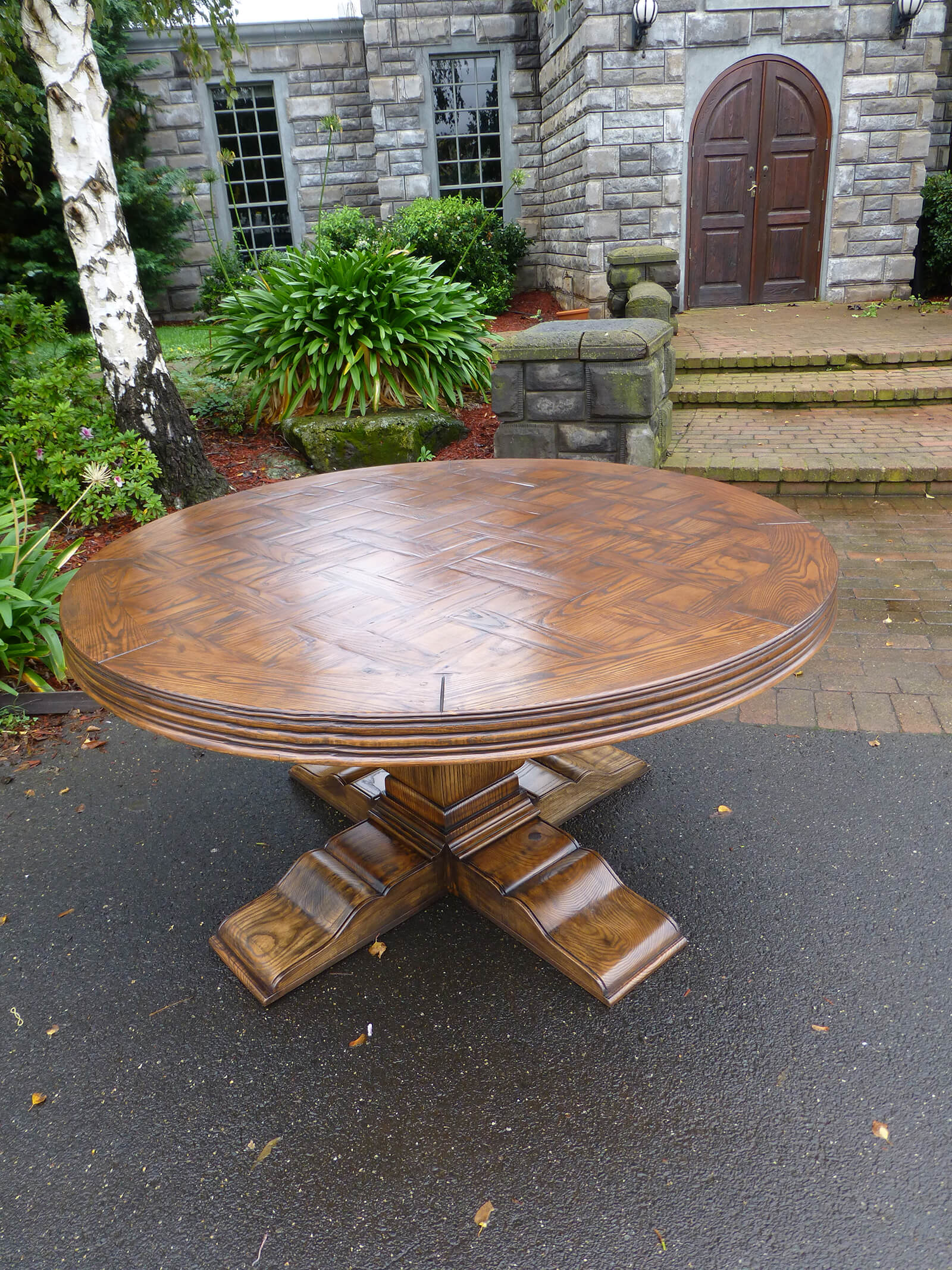 Custom Made Circular Parquetry Table French Tables