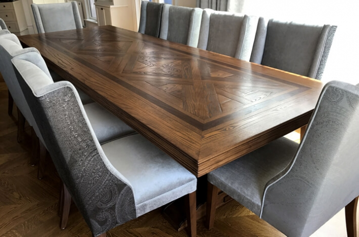 French style bespoke parquetry dining table