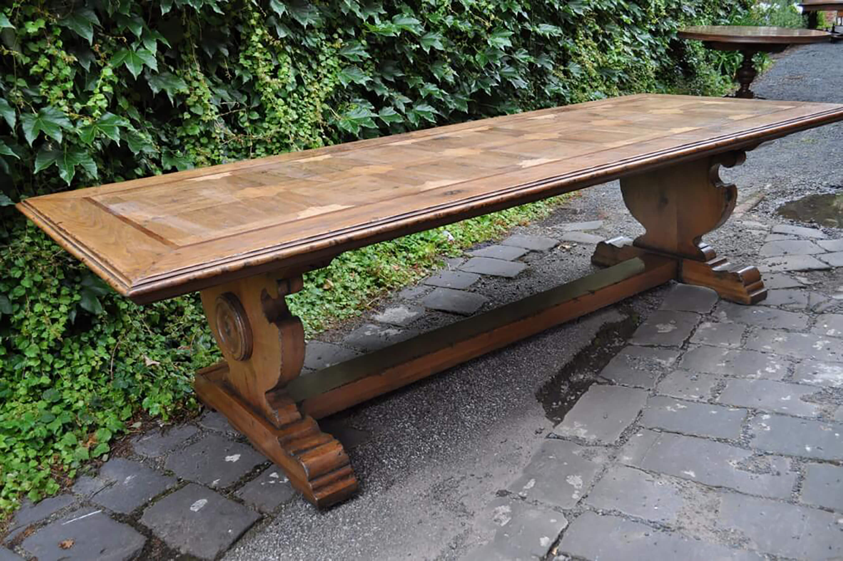French Oak Parquetry Dining Table Hand Finished French Tables
